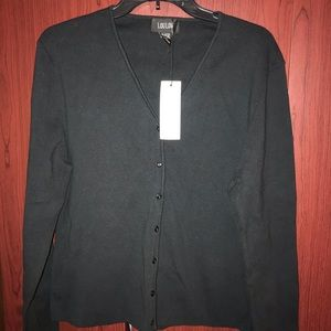 LOULOU Button up Black long sleeve sweater